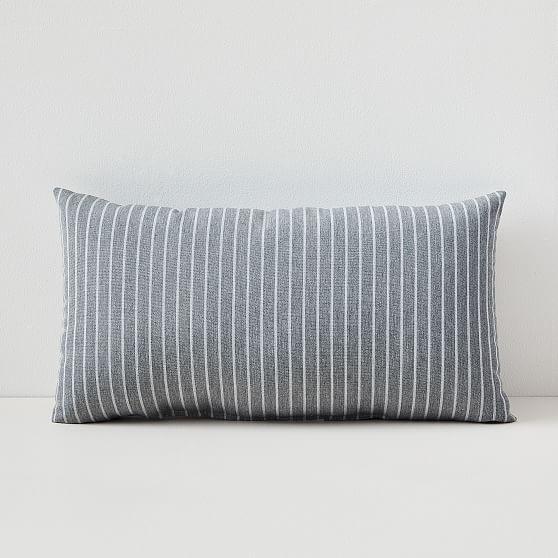 """Sunbrella Indoor/Outdoor Striped Lumbar Pillow, Smoke, 12"""" x 21"""", Set of 2"""