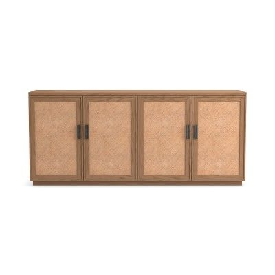 Copenhagen Woven Sideboard, 78, Wood/Cane, Natural, Pewter