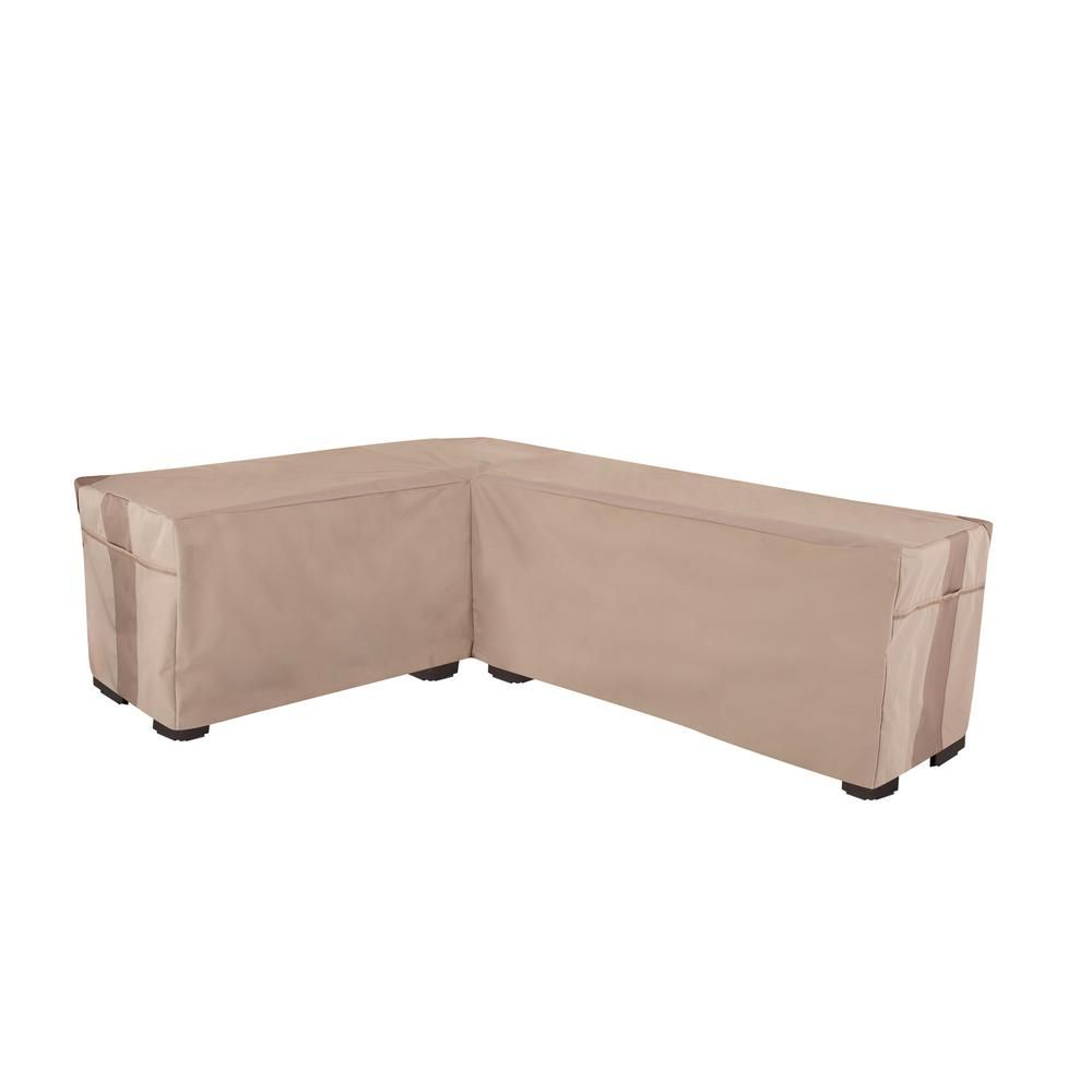 Modern Leisure Monterey Left 104 in. L x 83 in. L x 31 in. H x 32 in. D Khaki/Fossil Water Resistant Patio Furniture Sectional L Cover, Neutral khaki