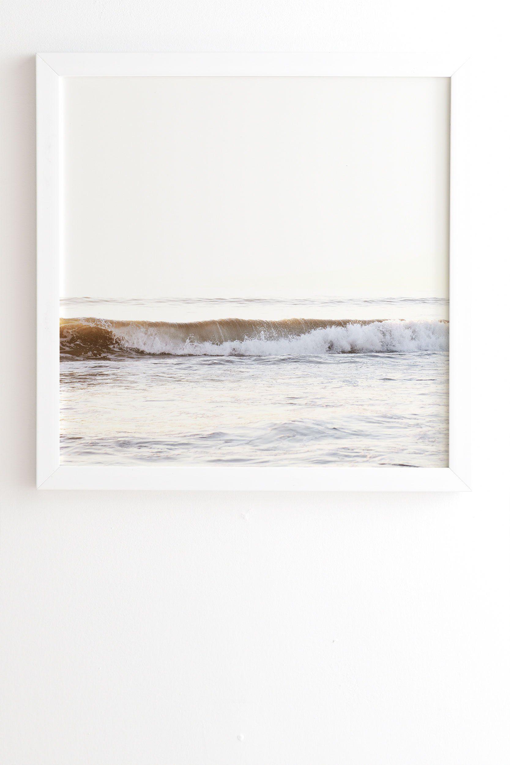 "Framed Wall Art White, Minimalist Wave, 30"" x 30"""