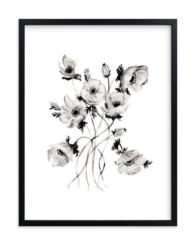 Greyscale Poppies Art Print