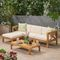 Barcomb Solid Wood 4 - Person Seating Group with Cushions