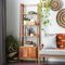 """Tall Natural Brown Wooden Leaning Ladder Shelf W/ 4 Wooden Step Compartments, 21.5""""X69"""""""