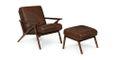 Otio Brown Leather Walnut Lounge Set